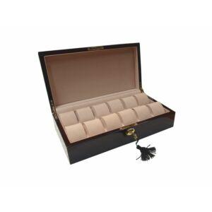 GC02-LG4-12EX Fényes mahagóni színű díszített fa óratartó doboz 12 db órához