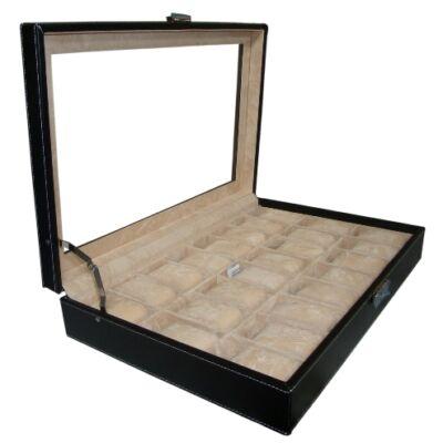 309 Fekete bőr óratartó doboz 24 db órához