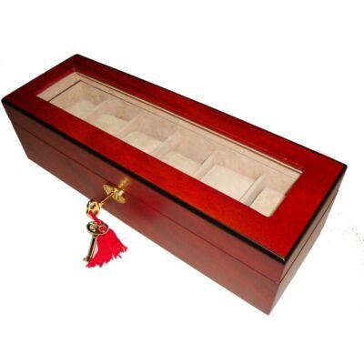 359 Cseresznye színű fa óratartó doboz 6db órának