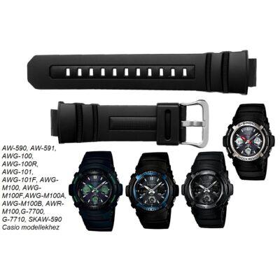AW-590 AW-591 AWG-100 AWG-101 AWR-M100 AWG-M100 G-7700 G-7710 Casio fekete műanyag szíj