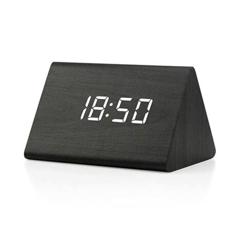 BCFEKF-SA019 Digitális fekete fa asztali óra - rkt