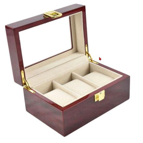 LUXUS Mahagóni Fa óratartó doboz 3 db órához - rkt