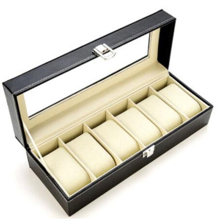 Prémium fekete bőr óratartó doboz 6 db órához - rkt