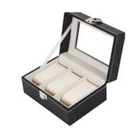 Prémium fekete bőr óratartó doboz 3 db órához