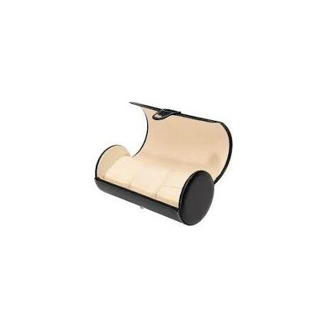 Prémium fekete bőr utazó óratartó doboz 3 db órához - rkt