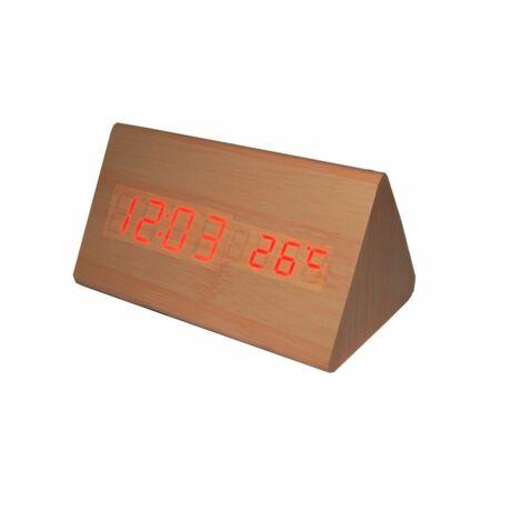 6836-4 Digitális barna fa asztali óra