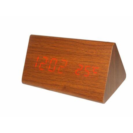 6836-5 Digitális barna fa asztali óra