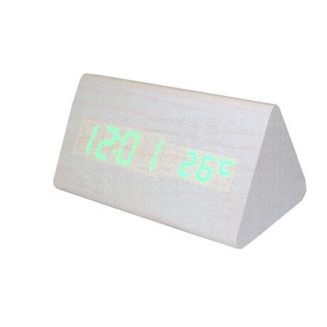 6836-7 Digitális fehér fa asztali óra