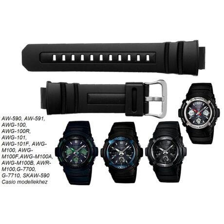 AW-590 AW-591 AWG-100 AWG-101 AWR-M100 AWG-M100 G-7700 G-7710 Casio fekete műanyag szíj - rkt