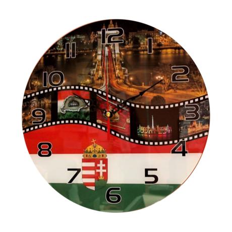 Budapest címerrel BPC85 üveg falióra