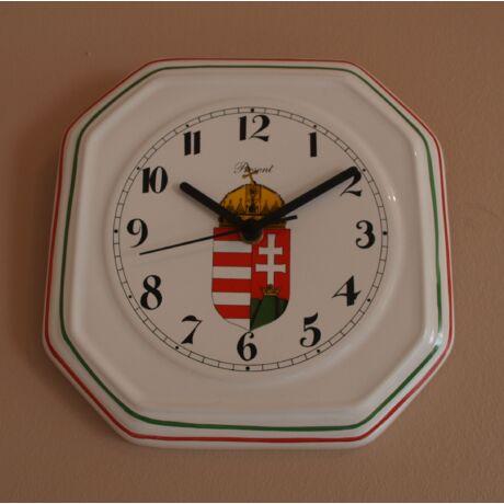 Címeres Kalocsai porcelán tányér kocka  falióra 22,5 cm
