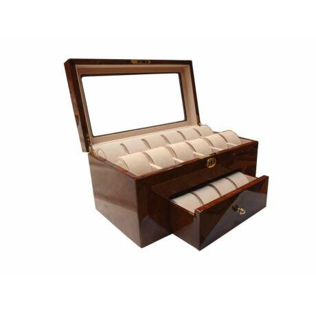 GC02-LG10-20DYX/W Fényes fa óratartó doboz 22db órához