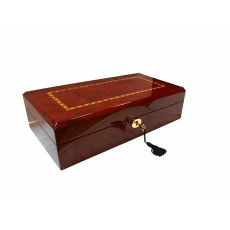 GC02-LG4-12HZX Fényes cseresznyefa színű díszített fa óratartó doboz 12 db órához