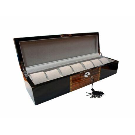 GC02-LG7-7YBG Fényes díszített fa óratartó doboz 7 órához